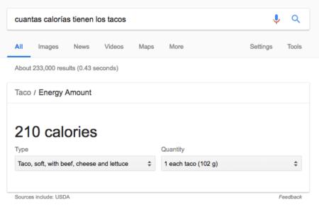 calorías de los tacos